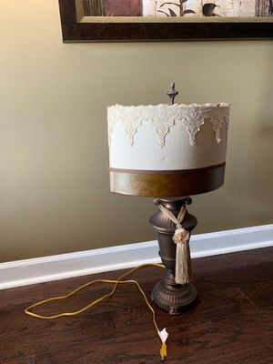 Leather and silk lamp for Sale in Atlanta, GA