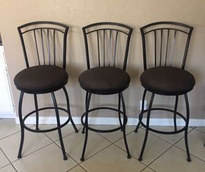 3 METAL SWIVEL / ROTATING BAR STOOL CHAIRS for Sale in Buena Park, CA