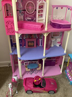 Barbie Dreamhouse includes Barbie remote control car and Barbie Horse! for Sale in Richmond, VA
