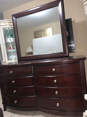 Queen bed frame dresser with mirrors armoire and 1 night stand no mattress for Sale in Miami, FL