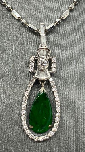 Diamond and jade necklace for Sale in West Sacramento, CA