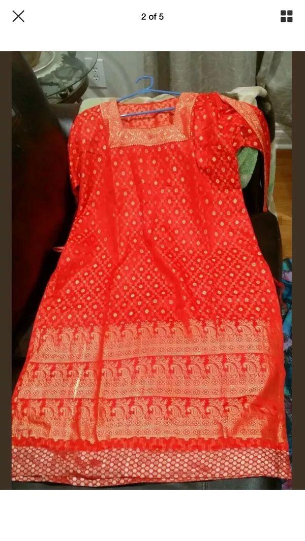 Pakistani Indian Kameez shalwar red party wedding casual dress