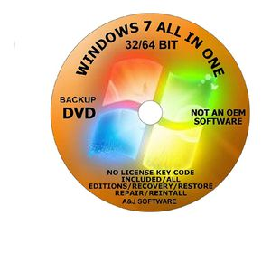 WINDOWS 7 All Editions LATEST UPDATES DVD 32/64-BIT. RECOVERY FIX REINSTALL RESTORE REPAIR REBOOT RECOVERY INSTALL for Sale in Freehold, NJ