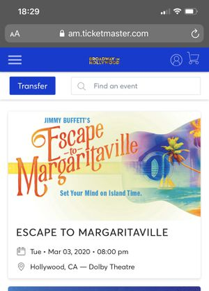 Escape To Margaritaville Broadway tickets for Sale in Ontario, CA