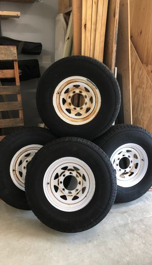 Wheels 8 on 61/2. Tires Bronco 235 85 16. E Load. Old, with extremely low mileage. For trailer only! for Sale in MARRIOTTSVL, MD