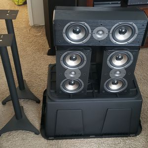 Polk TSi200 Bookshelf Speakers (Left, Right, Center) - Includes Stands for Sale in San Diego, CA