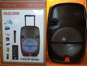 Wireless microphone 15 inch New Bluetooth Speaker SD Card,Slot USB Port,FM Radio,Microphone Included For Karaoke ( Bosina ) for Sale in Moreno Valley, CA
