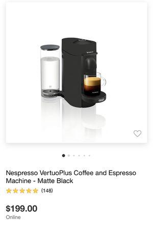 Nespresso Vertuo Plus Coffee & Espresso Machine Matte Black for Sale in San Dimas, CA