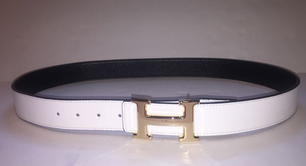 Hermes White and Black Reversible Gold Buckle Belt