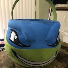 "Large Leonardo Teenage Mutant Ninja Turtle Plush Bucket Basket (9"" top opening x 9"" tall bottom basket) for Sale in Seminole, FL"