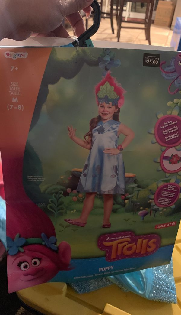 Trolls Poppy deluxe child costume Size medium 7-8 girls retails $25 I'm selling for $12 obo includes Hug time bracelet, dress and floral crown with e