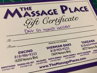 Gift Certificate - 90 Mins Massage $74, Selling For $66 for Sale in Los Angeles,  CA