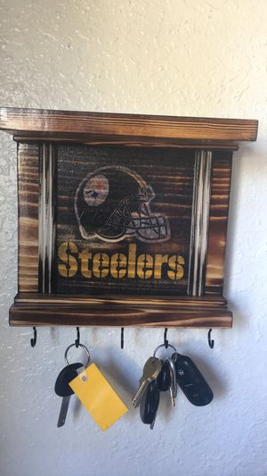 Pittsburgh Steelers custom rustic wall decor key holder shelves for Sale in El Paso, TX