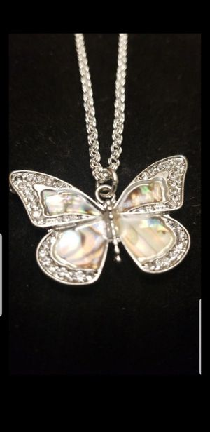 STERLING SILVER CZ BUTTERFLY NECKLACE 18INCH for Sale in Tracy, CA
