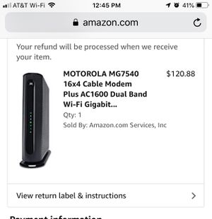 MOTOROLA MG7540 16x4 Cable Modem Plus AC1600 Dual Band Wi-Fi Gigabit Router with DFS, 686 Mbps Maximum DOCSIS 3.0 - Approved by Comcast Xfinity, Cox, for Sale in Buckeye, AZ
