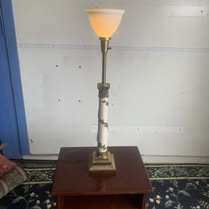 Antique White Pillar Lamp With Brass Base And Accents for Sale in Houston, TX