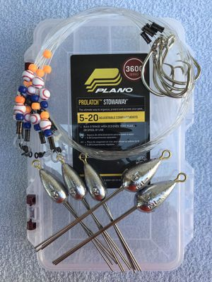 Surf Fishing Starter Pack (3/3oz, 2/5.5oz Surf Weights, 5/Surf Leaders & Plano 3650 box) for Sale in Houston, TX