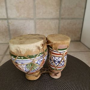Hand Painted Double Drum Vintage Ceramic Glazed Eastern European Percussion for Sale in Miami, FL