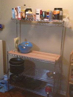 Kitchen shelves with wooden workspace for Sale in Columbus, OH