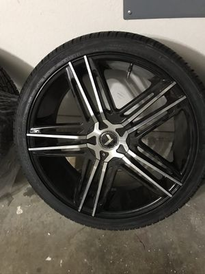 "NEW! NEXEN Roadian HP 265/35R22 tires with 22"" KRAZE WHEELS Black and chrome rims for Sale in Arlington, TX"