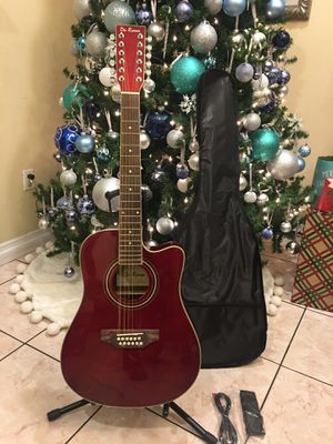 De Rosa 12 string electric acoustic guitar with soft case strap cable and pick for Sale in South Gate, CA