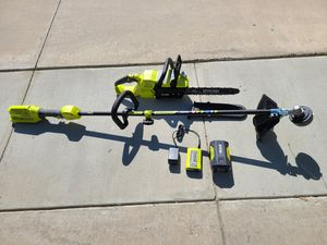 RYOBI 14 in. 40-Volt Brushless Lithium-Ion Cordless Chainsaw and Weed Eater, 4 Ah Battery and Charger Included for Sale in Murrieta, CA