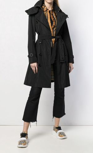 Burberry Women's Black Trench Coat House Check Sz 14 XL for Sale in Coral Gables, FL