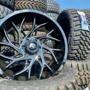 "22"" Fuel Wheels & Tires Deal • 22x10 Rims ( Saber or Runner) • 33x12.50R22 Kanati MT Tires • FREE Leveling Kit Only $2099 (Wheels and Tires) for Sale in Hacienda Heights, CA"