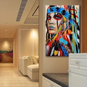 Large Native American Indian Girl Feathered Canvas Wall Art Wall Decor for Sale in Hemet, CA