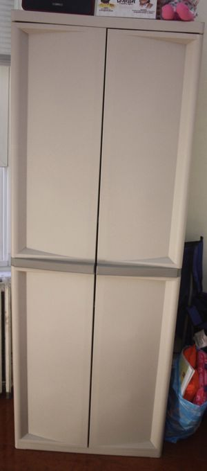 "Sterilite 5 Shelf storage Cabinet , Platinum , heavy duty yet light weight storage cabinet, 25.63""W x 18.88""D x 69.38""H for Sale in Jersey City, NJ"