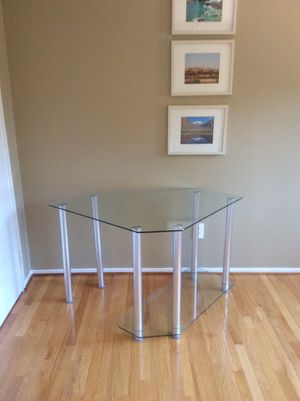 Glass and Metal Desk w/ Printer Shelf for Sale in Rockville, MD