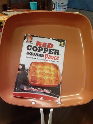 Red copper square dance non stick pan for Sale in Tarpon Springs, FL