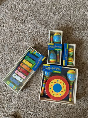 New: Sassafras music sets - XYLOPHONE (just added), shaker eggs, maracas, and drum/cymbals for Sale in Chippewa Falls, WI