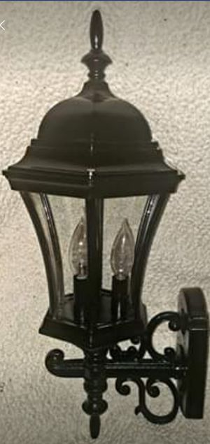 Black All Metal Antique 3 Bulb Outdoor Porch Light. for Sale in Pineville, LA