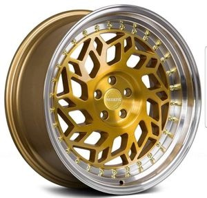 "18"" inch Regen5 R32 Gold machined wheel rim & tire packages available! No credit financing! for Sale in Tempe, AZ"