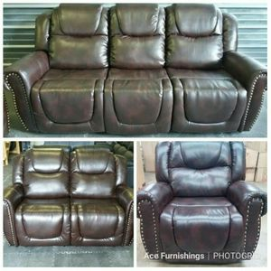 Brand New Brown Leather Reclining Sofa Loveseat & Chair With A Nail Head Trim for Sale in Orting, WA