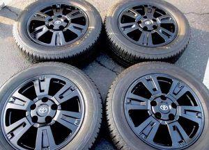 "20"" Toyota Tundra Platinum Black Wheels Rims Rines and Tires Llantas for Sale in Huntington Beach, CA"