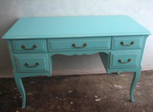 Antique 1940's turquoise painted 5 drawer desk for sale for Sale in Miami Beach, FL
