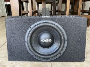 """Mmats Pro Audio P1 Series 10"""" Subwoofer and QBomb Sealed Box for Sale in Miami, FL"""
