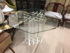 Lucite base glass top dining table for Sale in Delray Beach, FL