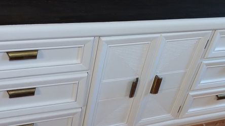 Beautiful White And Black Stained Wood Dresser! for Sale in Pomona,  CA