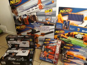 Huge Nerf Bundle all brand new! With 11 Guns/Bows and 10 packs of accessories and darts! for Sale in Garland, TX