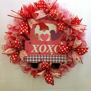 Xoxo Gnome Valentines Deco Mesh Wreath 26 Inch Holiday Red Heart Decorative Gift for Sale in Norwalk, CA