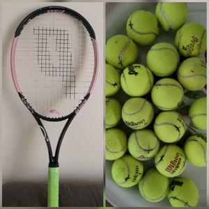 Excellent Prince O3 pink tennis racket like new with 20 balls for Sale in Seattle, WA