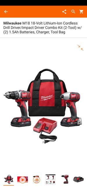 Milwaukee M18 18-Volt Lithium-Ion NEVER USED!! BRAND NEW!! Cordless Drill Driver/Impact Driver Combo Kit (2-Tool) for Sale in Mount Prospect, IL