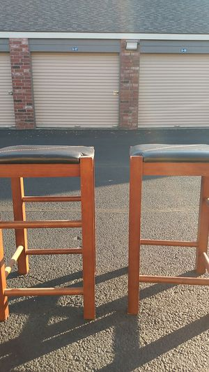 2 wood and leather narstools for Sale in Fort Worth, TX