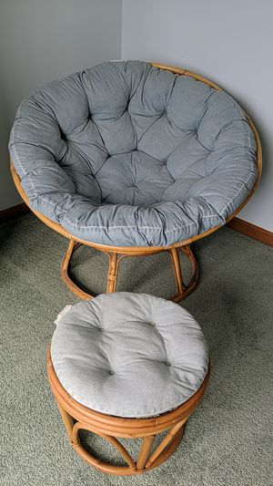 Blue papasan and matching stool for Sale in Plattsburgh, NY