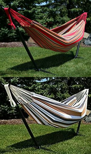 NEW $70 each 110 inches long 450 lbs capacity double hammock with metal stand included Hamaca y soporte for Sale in Whittier, CA