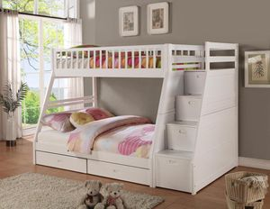 🎀Honey White Twin/Full Storage Stairecase Bunk Bed | 4474W 🎀🚛 SameDay Delivery for Sale in Glen Burnie, MD