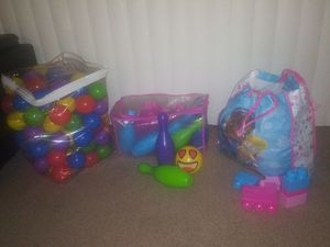 Bowling pins, blocks, color play balls for Sale in Fontana, CA
